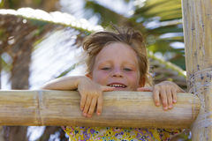Young happy smiling child girl summer outdoor portrait Royalty Free Stock Images