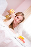 Young happy smiling coquette  girl in lingerie Royalty Free Stock Photo