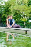 Young happy smiling couple embracing Royalty Free Stock Photo