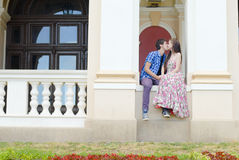 Young happy smiling couple kissing Stock Images