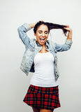 Young happy smiling latin american teenage girl emotional posing on white background, lifestyle people concept Royalty Free Stock Images
