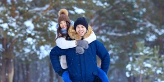 Young happy smiling man and woman in love royalty free stock photo