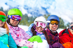 Young happy smiling people wearing goggles Stock Images