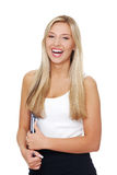 Young happy smiling student woman. Isolated on white background Royalty Free Stock Image