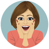 Young happy smiling surprised woman Stock Photography