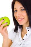 Young happy smiling woman with apple Royalty Free Stock Photo
