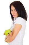 Young happy smiling woman with apple Stock Images