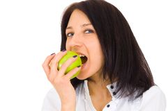 Young happy smiling woman with apple Royalty Free Stock Photos