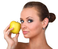 Young happy smiling woman with apple Stock Photo