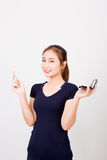 Young happy smiling woman with cosmetics brush Stock Images