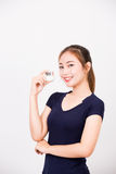Young happy smiling woman with cosmetics Royalty Free Stock Photography