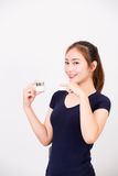 Young happy smiling woman with cosmetics Royalty Free Stock Images