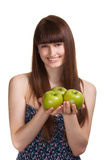 Young happy smiling woman with green apple Royalty Free Stock Photo