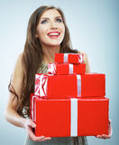 Young happy smiling woman hold red gift box. Stock Photo