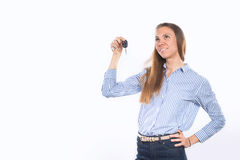 Young happy smiling woman holding car keys Royalty Free Stock Photography
