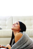 Young happy smiling woman lying Royalty Free Stock Photo