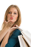 Young happy smiling woman with shopping bags isolated Royalty Free Stock Photo