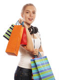Young happy smiling woman with shopping bags Stock Image