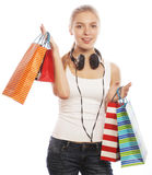 Young happy smiling woman with shopping bags Stock Photos