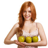 Young happy smiling woman with three green apple Stock Photos