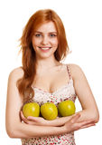 Young happy smiling woman with three green apple Royalty Free Stock Photo