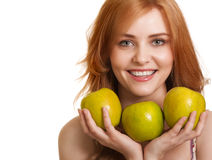 Young happy smiling woman with three green apple Stock Image