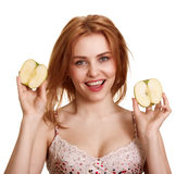 Young happy smiling woman with two apple Royalty Free Stock Photos