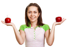 Young happy smiling woman with two red apple Royalty Free Stock Photography