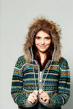 Young happy smiling woman in warm winter outfit Royalty Free Stock Images