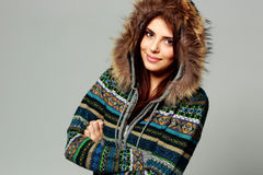 Young happy smiling woman in warm winter outfit Stock Images