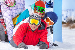 Young happy snowboarders portrait Stock Image