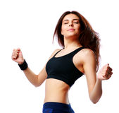 Young happy sport woman dancing Stock Photo