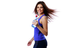 Young happy sport woman holding bottle with water Stock Images