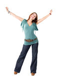 Young happy stretching woman Royalty Free Stock Photo