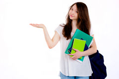 Young happy student. Student with backpack and books on white background Stock Image