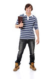 Young happy student man with notebook Royalty Free Stock Photos