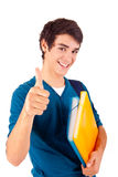 Young happy student showing thumbs up stock photos