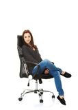 Young happy student woman sitting on a wheel chair Stock Image