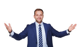 Young happy succesful businessman isolated on white Stock Image