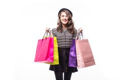 Young happy summer shopping woman with shopping bags isolated on white background. Young happy summer shopping woman with shopping bags Royalty Free Stock Photos