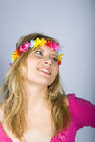 Young happy summer woman with funny flower band Royalty Free Stock Photos