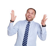 Young happy surprised businessman isolated on white Royalty Free Stock Photography