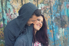 Young happy teenage couple having fun stock photos