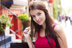 Young happy teenage girl in urban place Royalty Free Stock Images