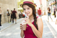 Young happy teenage girl in urban place Stock Photos