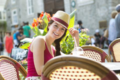 Young happy teenage girl in urban place Stock Image