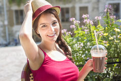 Young happy teenage girl in urban place Royalty Free Stock Photos