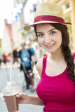 Young happy teenage girl in urban place Stock Images