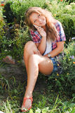 Young happy teenage girl using mobile phone Stock Photos