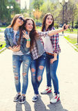 Young happy teenage girls making selfie and having fun in summer park. Young happy hipster teenage girls having fun in summer park Royalty Free Stock Photography